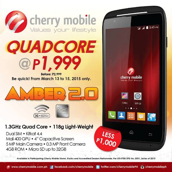 cherry mobile amber price