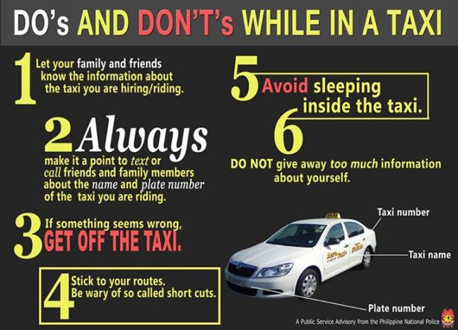 dos donts while riding taxi philippines