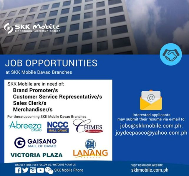 skk mobile job openings davao
