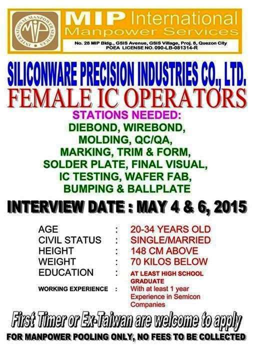 Philippines female job openings for taiwan