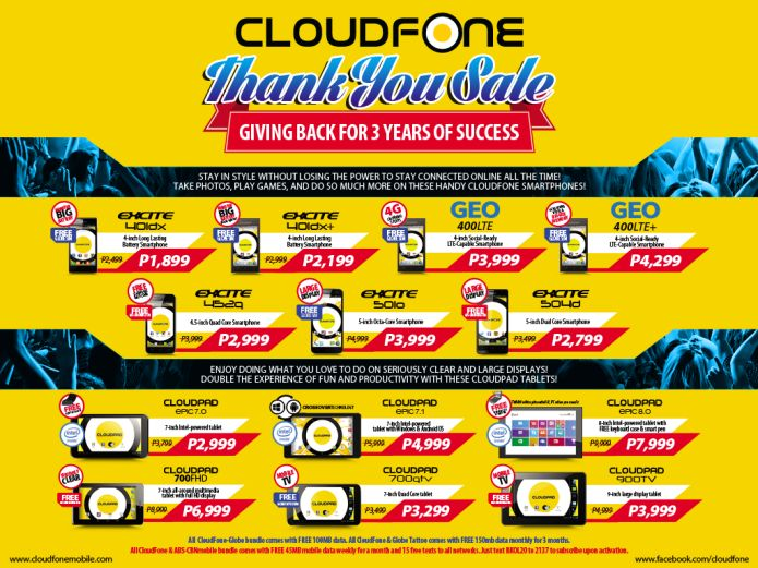 cloudfone thank you sale april 2015