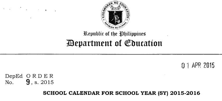 deped school calendar school year 2016 2017