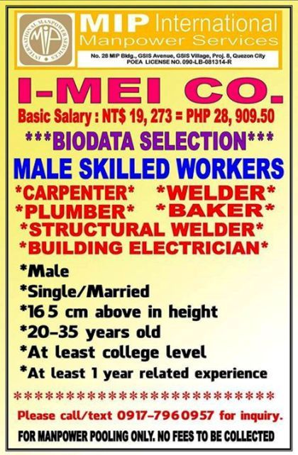 Male Skilled Workers needed in Taiwan, Salary around P28K