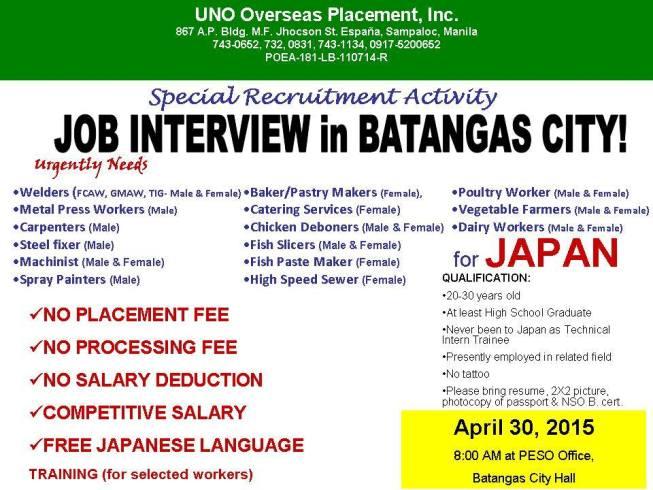 japan jobs for Filipinos 2015