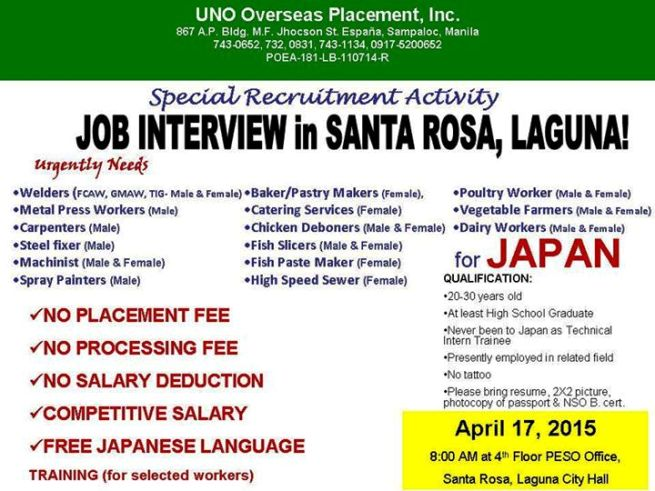 job interview in sta rosa laguna for japan