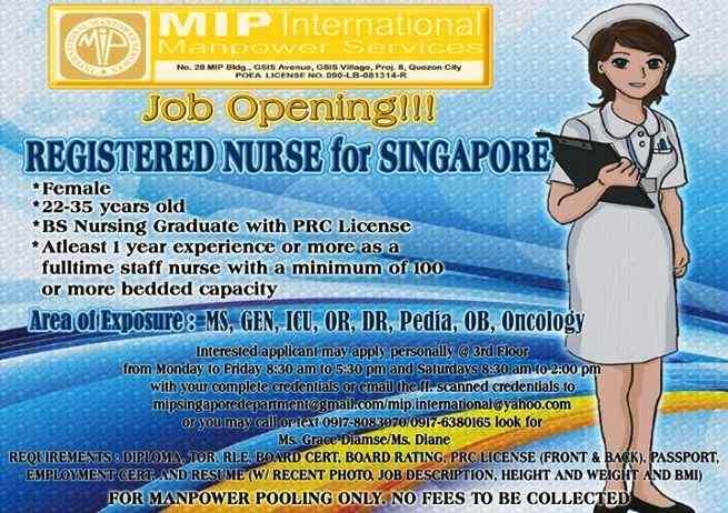 pinoy nurse jobs singapore 2015