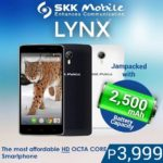 SKK Mobile Lynx Price and Specs, Cheapest HD Octa-Core Smartphone as of March 2015