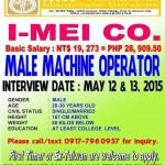 Filipino Male Machine Operators Job Openings for Taiwan