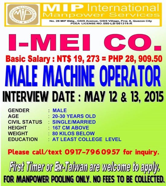 male machine operator taiwan