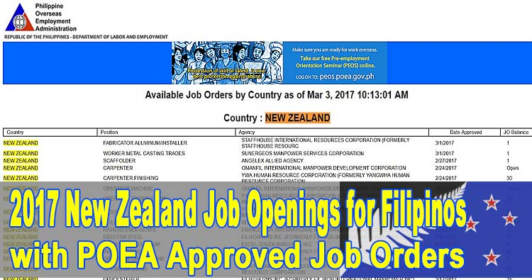 New Zealand Job Openings for Filipinos in 2017, Vacant Positions, and Manpower Agency List