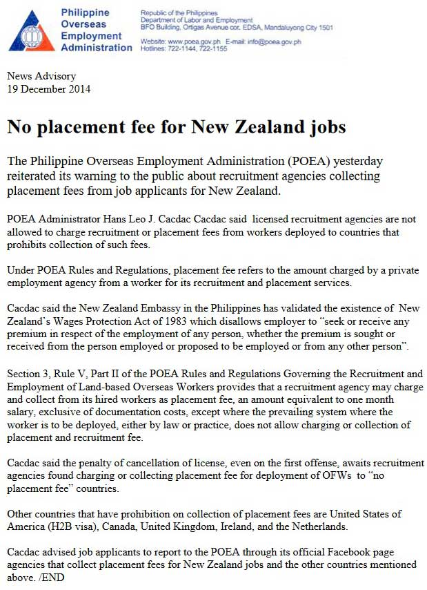 no placement fee for new zealand jobs