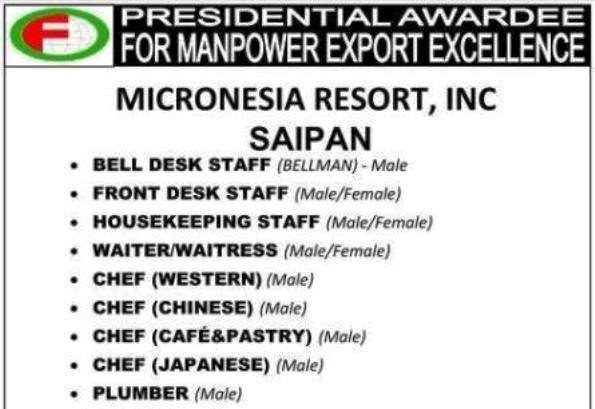 Omanfil Job Openings For Saipan, Minimum Salary Is 1400USD Per Month,  Interview On May 2015