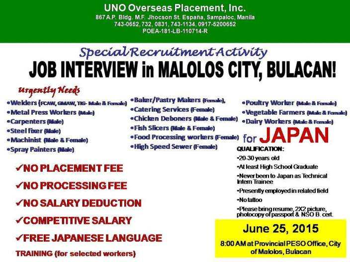japan job openings for bulacan residents  interview on