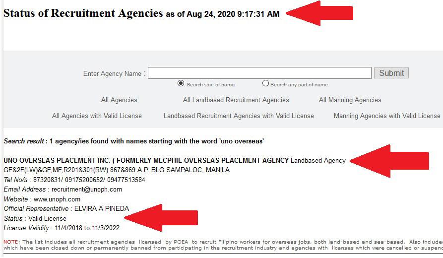 uno-overseas-employment-agency-poea-status-license