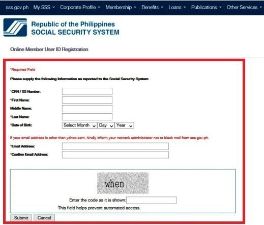 SSS contribution online member user ID registration