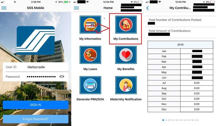 mobile app check sss contribution online