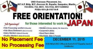 Japan Job Openings from UNO Overseas Placement Inc, List of Vacancies and How to Apply 2015