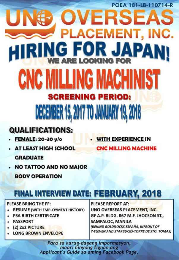 Part P Certificate >> Japan Job Openings from UNO Overseas Placement Inc, List of Vacancies and How to Apply 2018