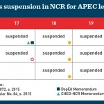 APEC 2015 NCR Work and Class Suspension Schedule in November 2015