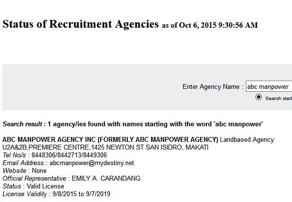 abc manpower agency poea license status