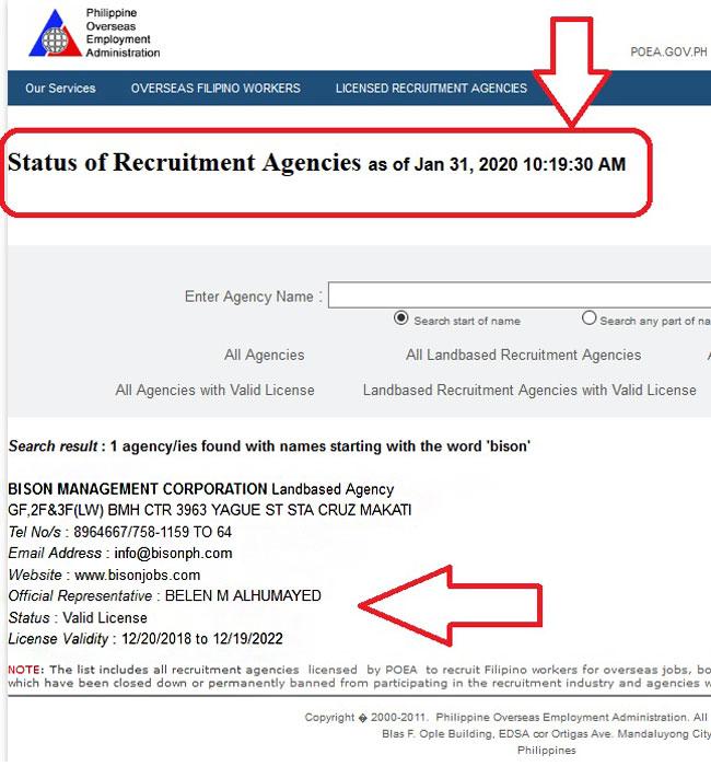 bison management poea license status