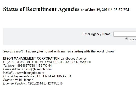 bison manpower agency license status july 2016