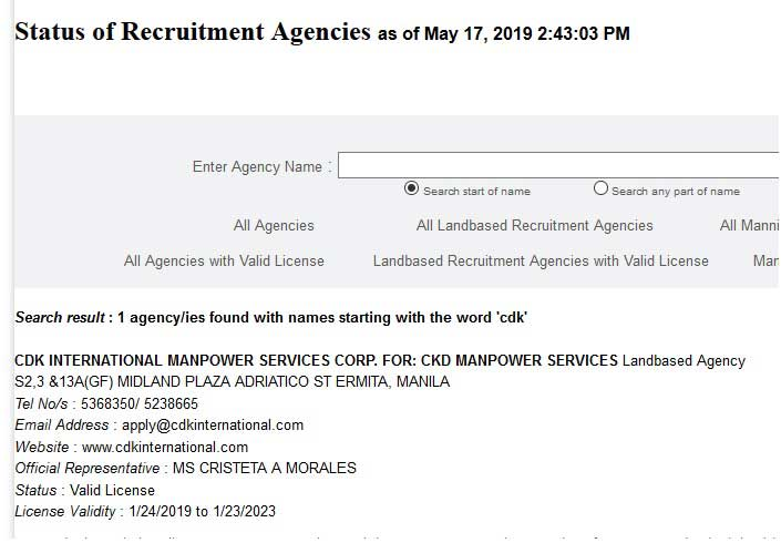 cdk manpower services poea license