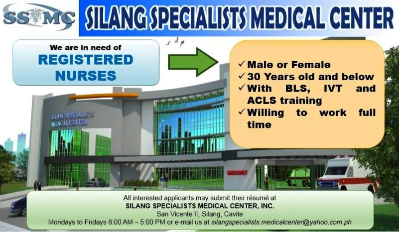 Job Openings In Silang Specialist Medical Center Silang