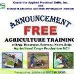 TESDA offers Free Agriculture Training in Nueva Ecija, Philippines