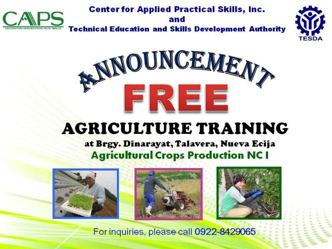 tesda agriculture training