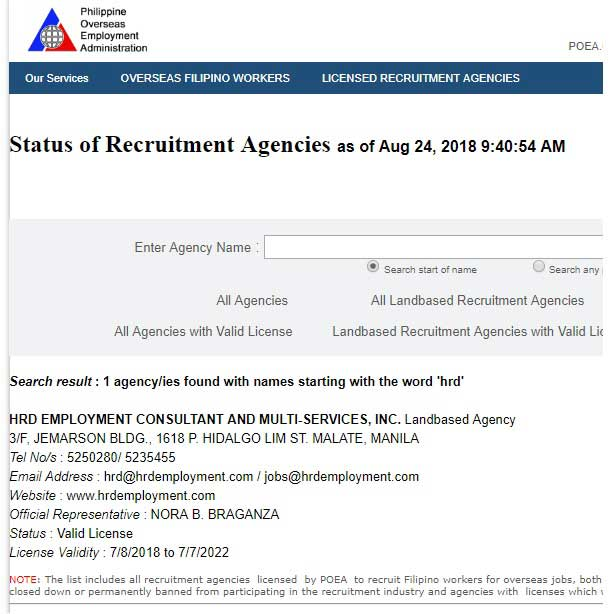 hrd employment consultant and multi services inc poea license
