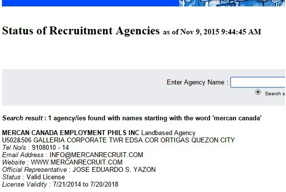 mercan recruit poea license status