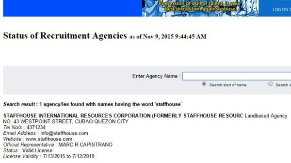 staffhouse international poea licence status