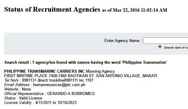 status of recruitment agencies of POEA