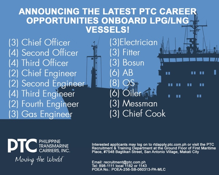 30+ Job Openings for Filipino Seafarers in 2016 from Philippine