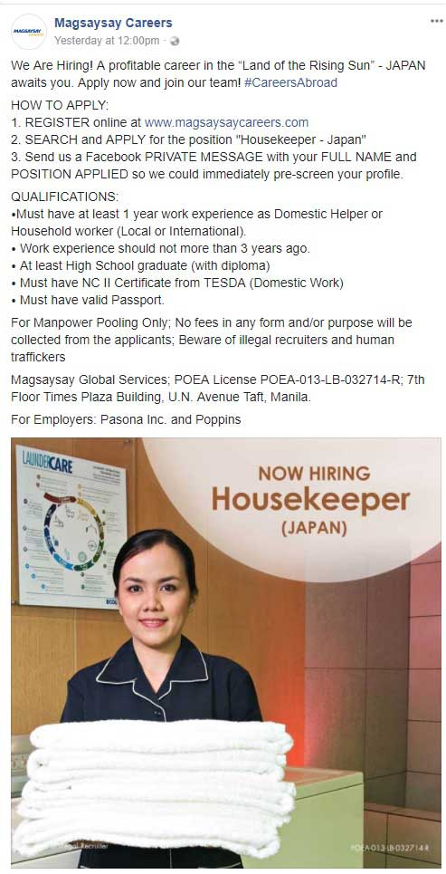 magsaysay global services incorporated housekeeping jobs in japan