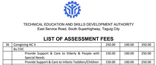 caregiving assessment fee