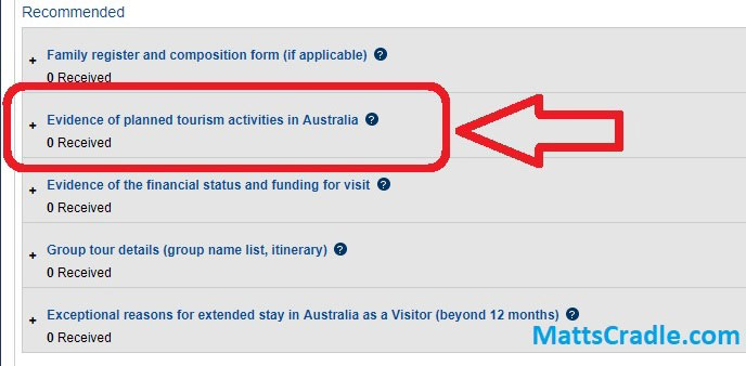 australian visa application online evidence of planned tourism activities