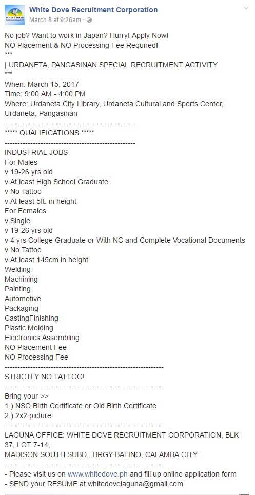 White Dove Recruitment Corporation Job Openings Poea License Status