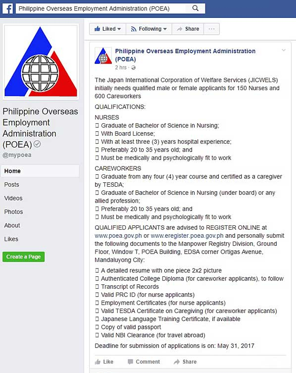 Poea 150 Nurses And 600 Careworkers Needed By Japan