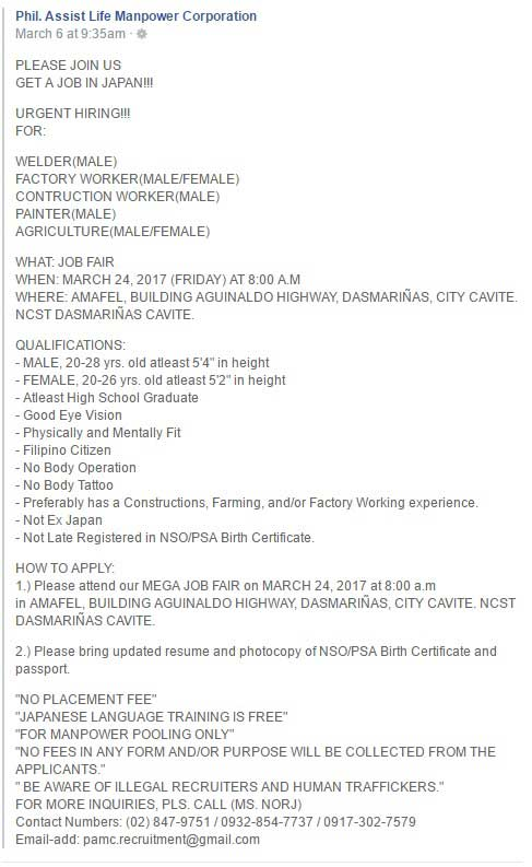 If so, you will find the Palapala (Dasmariñas) Jobs category very helpful. You will find jobs from diverse industries, such as health care, engineering or manufacturing. If you are looking for a specific job in Palapala (Dasmariñas), we recommend using the search bar at the top of the page.