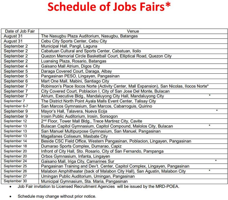 job fair philippines schedule september 2019