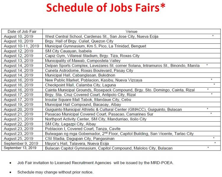 poea job fair august to september 2019