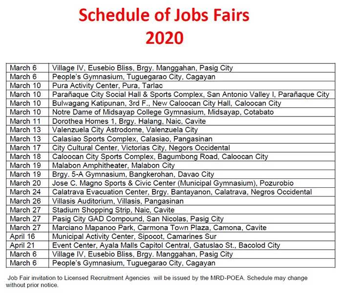 poea job hiring march 2020