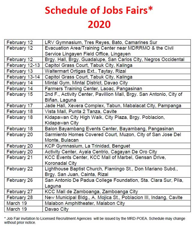 job hiring february 2020 poea
