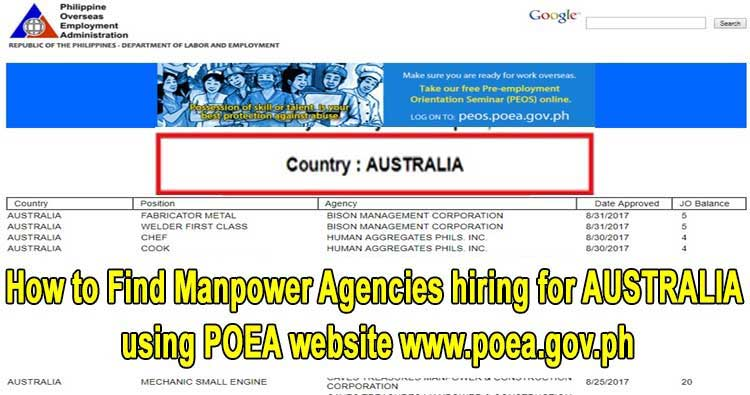 poea manpower agency for australia