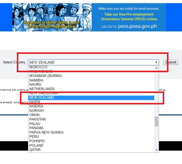 Steps to find Manpower Agencies hiring for New Zealand in POEA Website