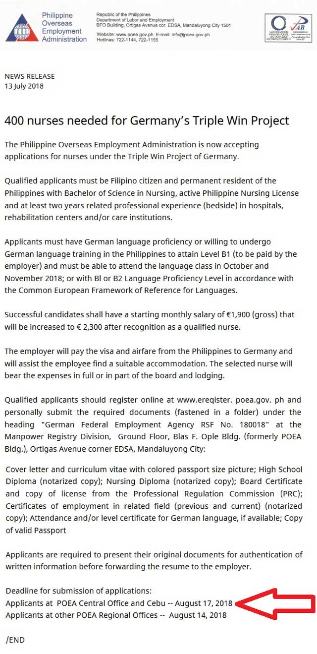germany has job openings for 400 filipino nurses