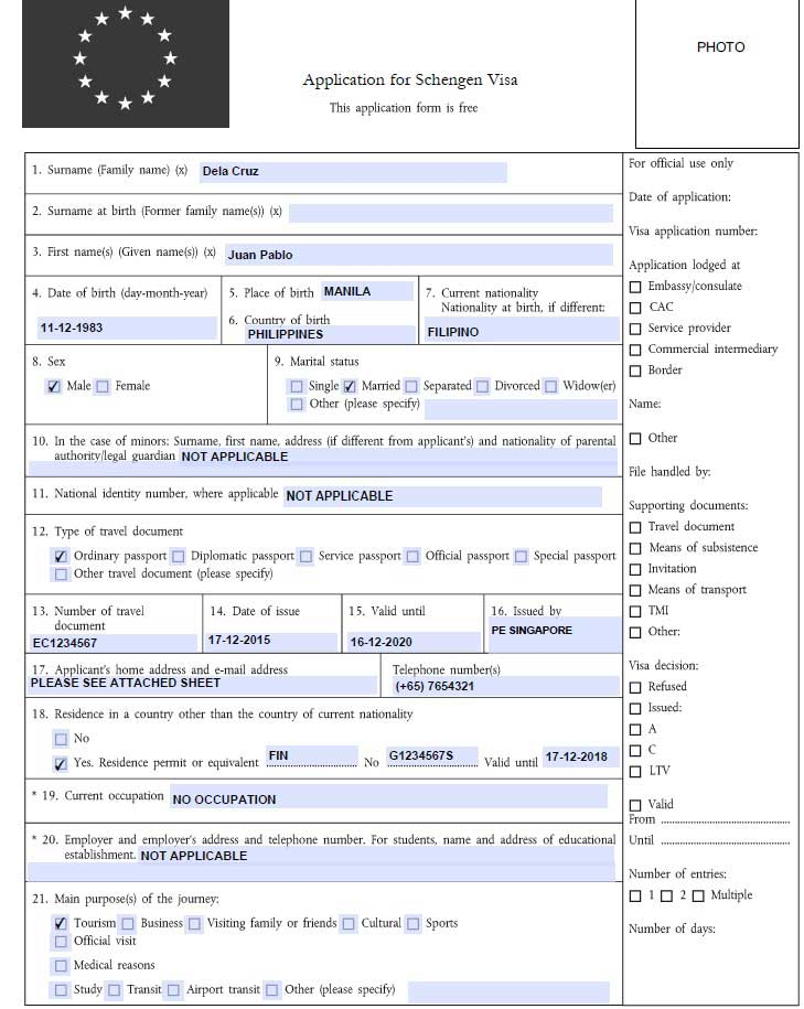 how to fill out schengen visa application form photo 1