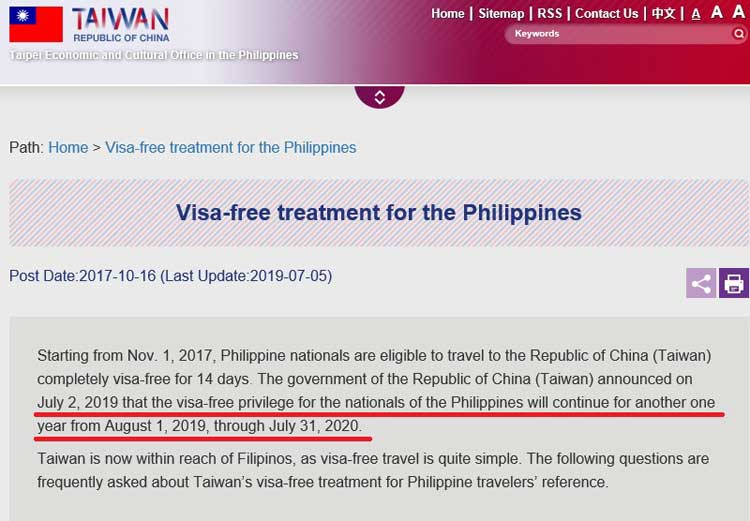 taiwan visa free for filipinos